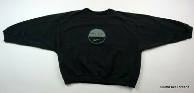 VTG 90s Womens Nike Swoosh Chenille Patch Logo Black Rare Women's Large 12/14