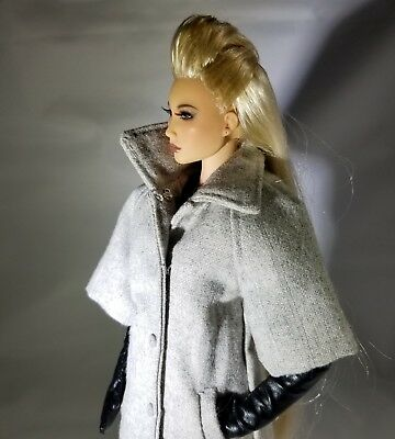 """IT 16"""" Grey coat with full length black gloves. Fits Kingdom Doll. New. FR16"""