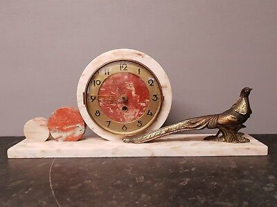 Vintage White Marble Mantle Clock with Brass Pheasant
