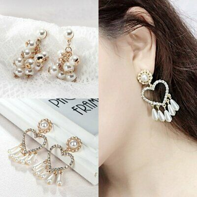 Women Crystal Pearl Heart Grape Drop Dangle Ear Stud Earrings  Jewelry Party Hot