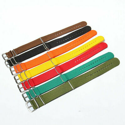 Nylon Fabric Canvas Wrist Watch Band  Sport Classic Buckle Strap Military 20mm
