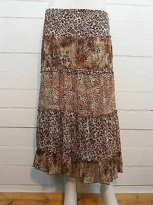 eb54d9e08 NOTATIONS Skirt Multi-Brown Geometric Peasant Tiered LINED Long, Sz PS -  W26-