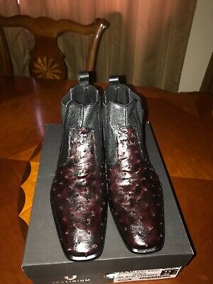62e8b77497d MENS CHERRY GENUINE Ostrich Exotic Skin Leather Western Cowboy Boots ...