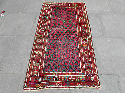 Antique Traditional Hand Made Caucasian Oriental Red Colourful Wool Rug 173x93cm