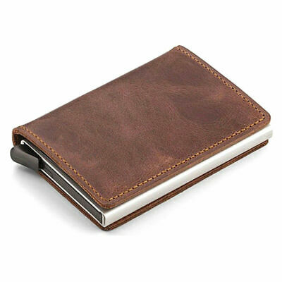 Genuine Leather Credit Card Holder Money Cash Wallet Clip RFID Blocking Purse