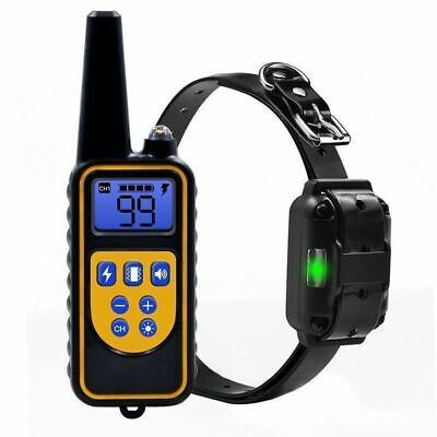 Dog Training Shock Collar Electric Remote Waterproof Rechargeable LCD 1000 Yard