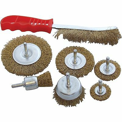 7pc wire brush set metal rotary cleaning sanding drill rust remover cleansing