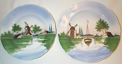 Two Vintage Hand Painted Plates Windmill Design S C La Hays Made In Germany