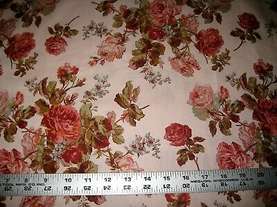 1/4 Yard Peach Red Rose Vintage Style Floral Fabric Quilting 100% Cotton