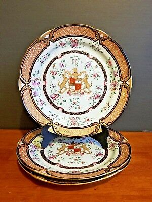 Antique Samson Porcelain Chinese Export Style Armorial Cabinet Plate Set Of 3