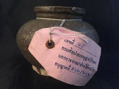Antique Sung Dynasty Chinese Part Glazed Pottery Vessels Tag Thai Government Lab