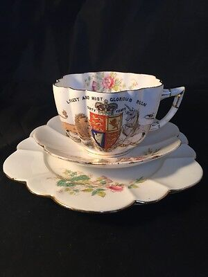 Rare Antique Queen Victoria 60 Years Reign The Foley China Cup Saucer Trio