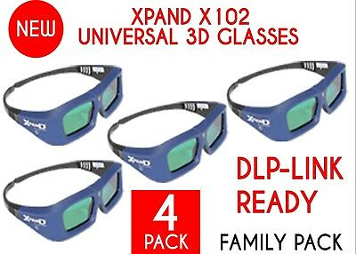 FAMILY 4 PACK XPAND X-102 3D Glasses DLP-Link Universal Active Shutter NEW