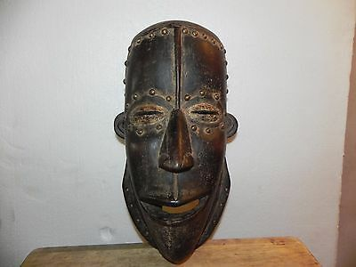 "Arts of Africa - Bete Mask with Studs  - Cote d'Ivoire - 15"" Height x 7"