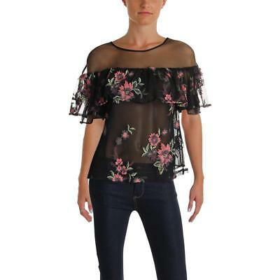 Bb Dakota Rayna Embroidered Illusion Top MSRP $88 Size S # 5C 382 NEW