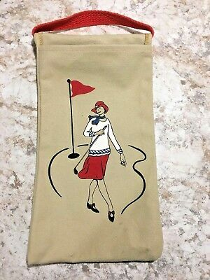 Vintage double sided canvas golf bag wine carrier tote woman golfer graphic