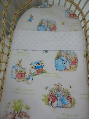 Bassinet Fitted Sheet and Matching Blanket Peter Rabbit White 100% Cotton