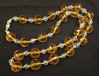 Vintage Art Deco Hand Knotted Multi Faceted Clear/Citrine Glass Necklace Heavy