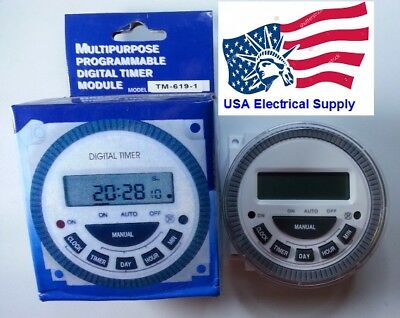 TM-619-1 Multipurpose 7 Day Programmable Digital Timer  With Remove Battery