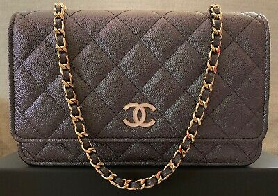 0c75d3c442d3 BNIB Authentic Chanel Classic Quilted Iridescent Black Caviar WOC Pearly CC  Logo
