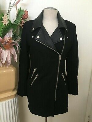 RED SAKS FIFTH AVENUE black zipper faux leather recycled wool women's coat XS