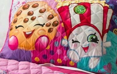 TWO Childrens Shopkins Standard Quilted Pillow Shams Girls Kids NEW Pink