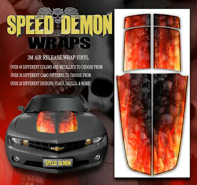 Chevy Camaro Hood /& Trunk Race Stripes Graphics Stickers Decals 10-15 GREY SKULL