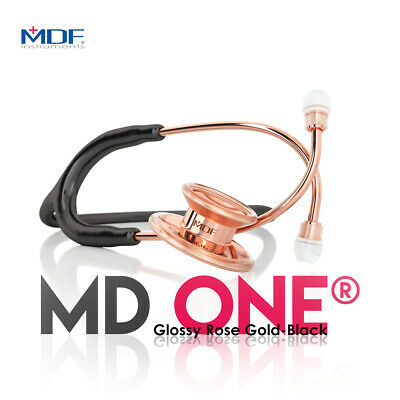 MDF MD One Stainless Steel Premium Dual Head Stethoscope -  Rose Gold - Black