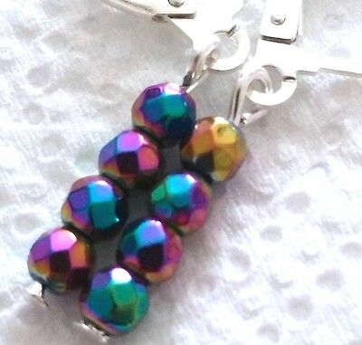 Lovely Pair of Silver Hematite Earrings, faceted beads (AA4)