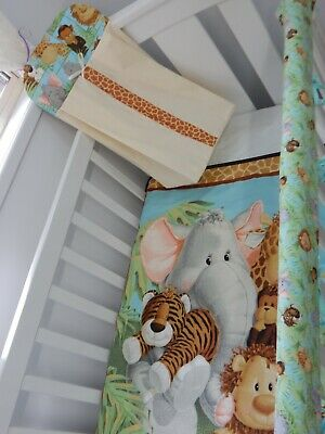 Jungle Babies Quilt Set 3 Piece Handmade Cot Rail Cover Nappy Stacker