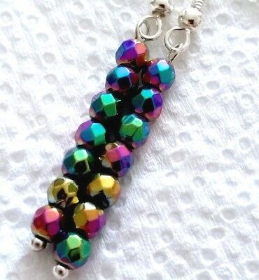 Long Lovely Pair of 925 Silver Hematite Earrings, faceted beads (AA3)