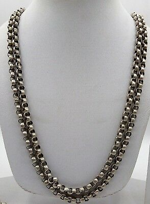 Handmade Old Silver Antique 2 Line Chain Beautiful Design Rajasthan Tribal Women