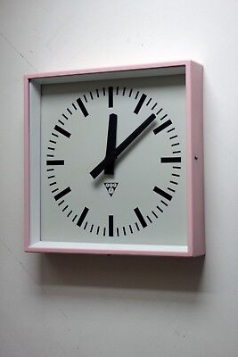 Vintage industrial 70s factory wall clock PRAGOTRON, refurbished AA battery