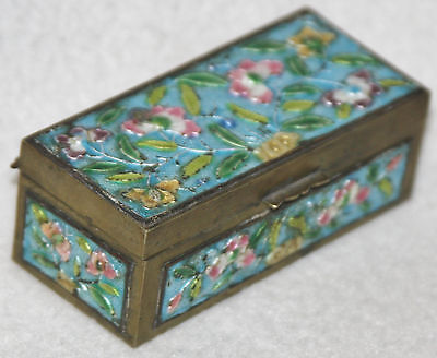 Chinese Late Republic 1930s Floral Design Enamel Decorated Rectangular Brass Box