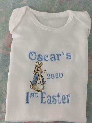 peter rabbit personalised first easter sleepsuit/ body suit/ bib, easter gift