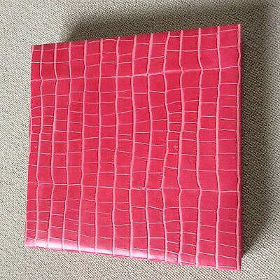 Large pink leather 50 page photo album or scrap book with interleaf tissue paper