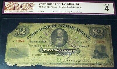 1882 Union Bank Of Newfoundland  $2   (Canada Chartered Banknote)