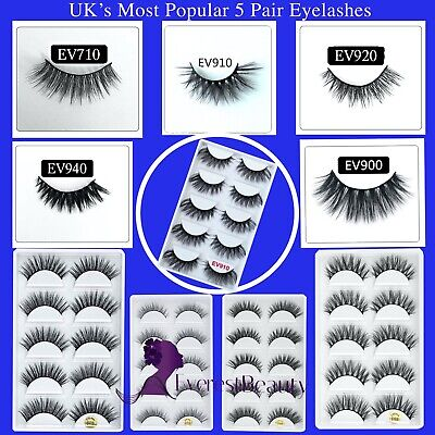 💙5 Pair 3D Mink False Eyelashes Wispy Cross Long Thick Soft Fake Eye Lashes UK