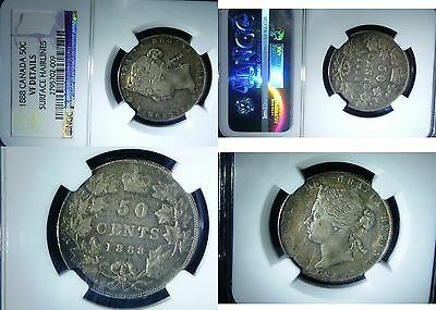 1888  Canada 50 CENTS Silver Coin, Queen Victoria, NGC  CERTIFIED