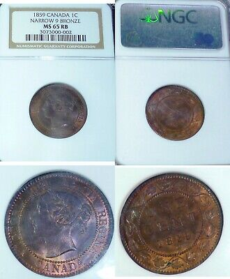 1859 Canada Narrow 9 Bronze One Cent   Ms65