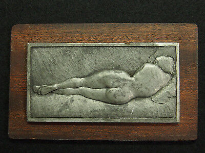 Trend Mark French Grey Metal Art Deco Plaque By René Gardille 1889-1938 Naked Woman Posing Coins & Paper Money