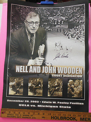 Rare Signed John Wooden NELL AND JOHN WOODEN COURT DEDICATION Poster 2003