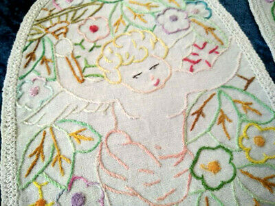 Charming 2 x Winged Cherubs & Flowers  ~ Vintage Hand Embroidered Large Doilies