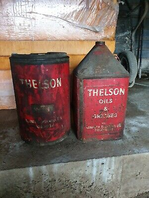 4 OLD VINTAGE oil cans Rustic Petrol Motor Tin Can Replica