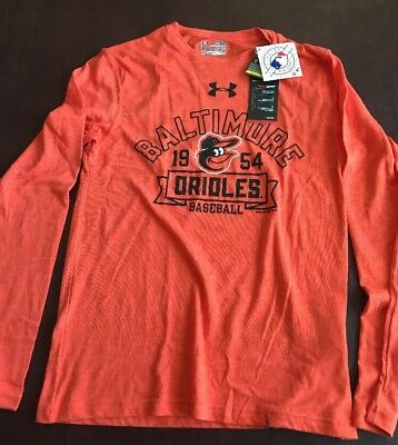 info for 019a7 d25aa Men s Under Armour MLB Baltimore Orioles Long Sleeve Loose Fit Shirt Small  NWT