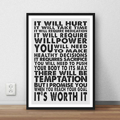 Motivation inspiration quote running fitness outdoor exercise wall art print