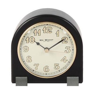 Small Black Art Deco Style Arched Top Mantel Clock. New & Boxed