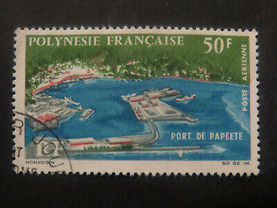 French Colonies - French Polynesia  50F Port of Papeete 1966 - High CV