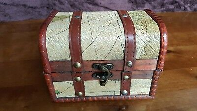 Rustic Wooden Colonial Style Trunk Treasure Chest Vintage Map Storage Box