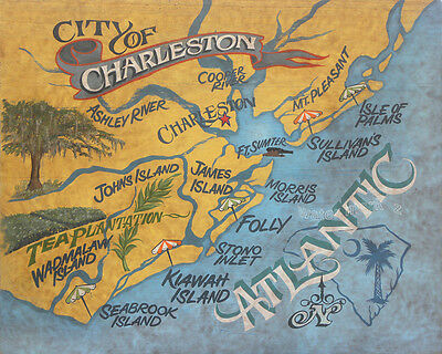 VINTAGE CHARLESTON, SC Map 1872 - Historic South Carolina Art - Old on